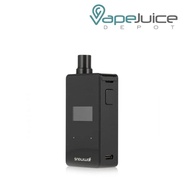 Five SnowWolf P50 Pod Systems with a display screen in front, a firing button on the side with a USB Port beneath - Vape Juice Depot