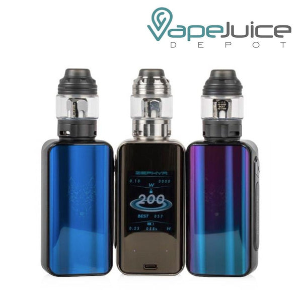This image contains three SnowWolf ZEPHYR 200W Kits Blue Black and Rainbow with a display screen - Vape Juice Depot