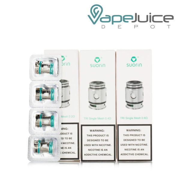 Three boxes of Suorin TRI Replacement Mesh Coils and four separate coils on the left side - Vape Juice Depot