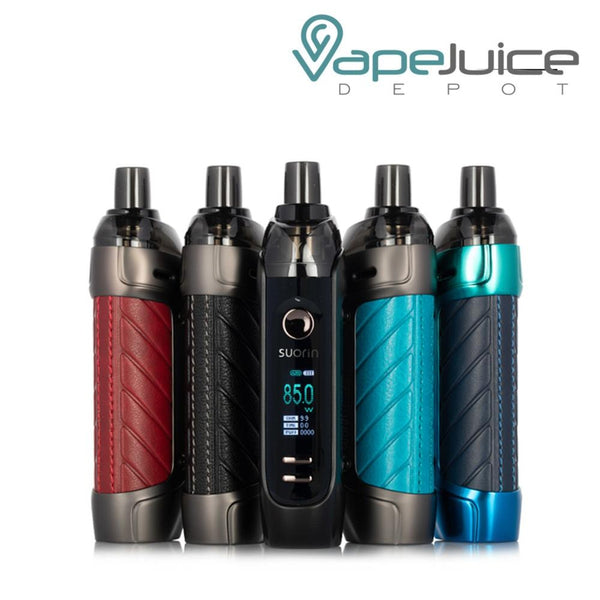 Five Suorin TRIO 85 Pod Kits with firing button, TFT Display Screen and two adjustment buttons - Vape Juice Depot