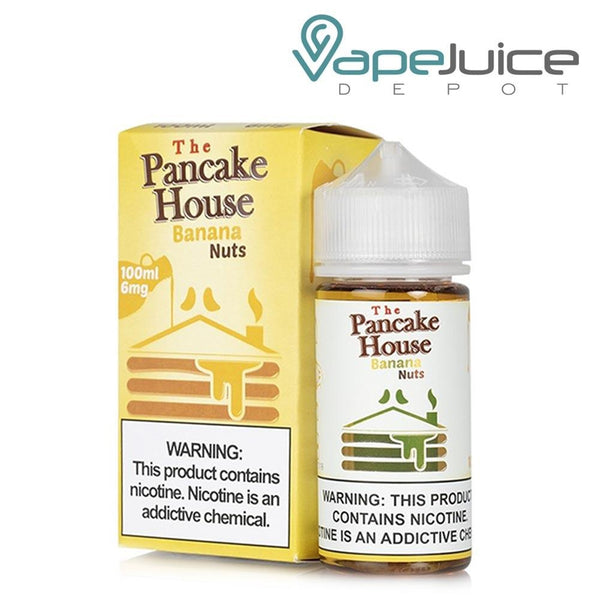 A box of The Pancake House Banana Nuts eLiquid and a 100ml gorilla bottle with a warning sign next to it - Vape Juice Depot