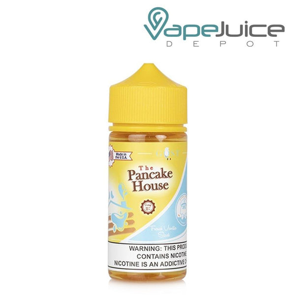 A box of The Pancake French Vanilla and a 100ml unicorn bottle with a warning sign next to it - Vape Juice Depot