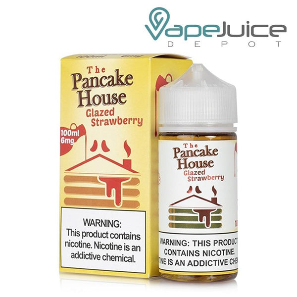 A box of The Pancake House Glazed Strawberry eLiquid and a 100ml unicorn bottle with a warning sign next to it - Vape Juice Depot