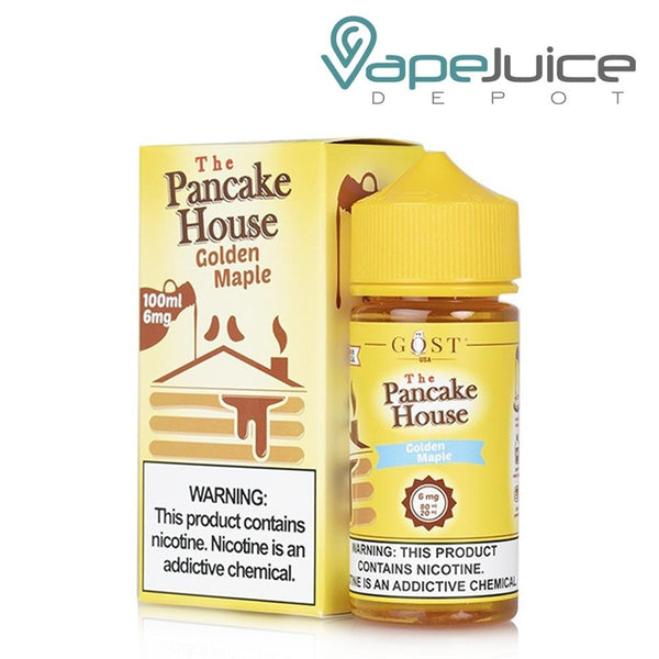 A box of The Pancake House Golden Maple eLiquid and a 100ml unicorn bottle with a warning sign next to it - Vape Juice Depot