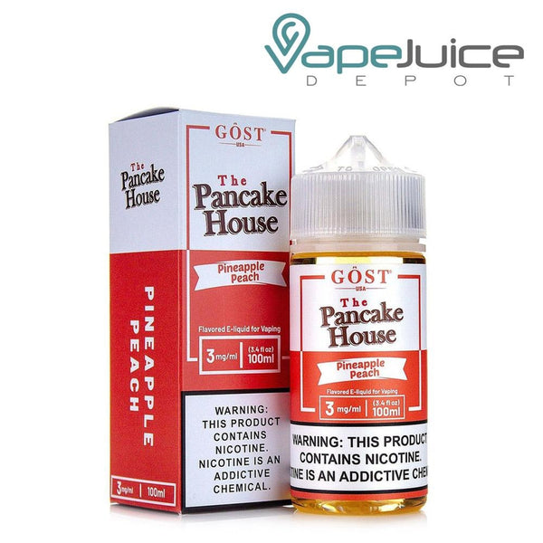 A box of The Pancake House Pineapple Peach eLiquid and a 100ml unicorn bottle with a warning sign next to it - Vape Juice Depot