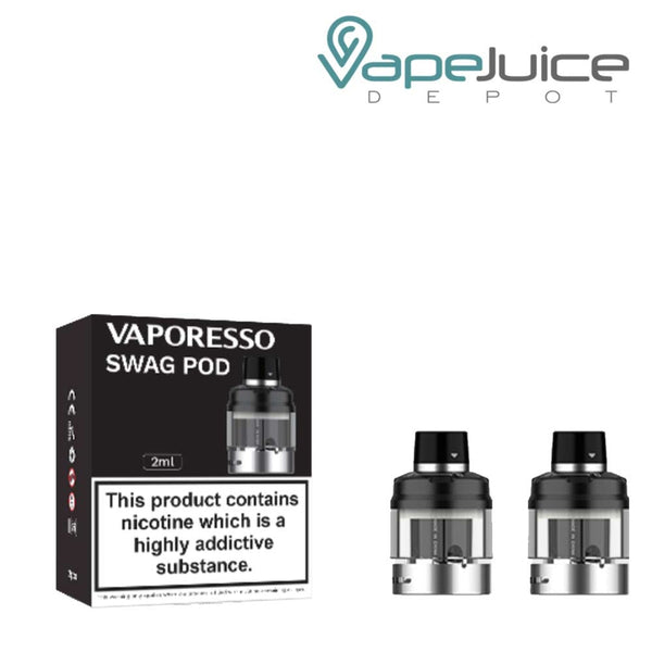 A box of Vaporesso SMAG PX80 Replacement Pods with a warning sign and two pods next to it - Vape Juice Depot
