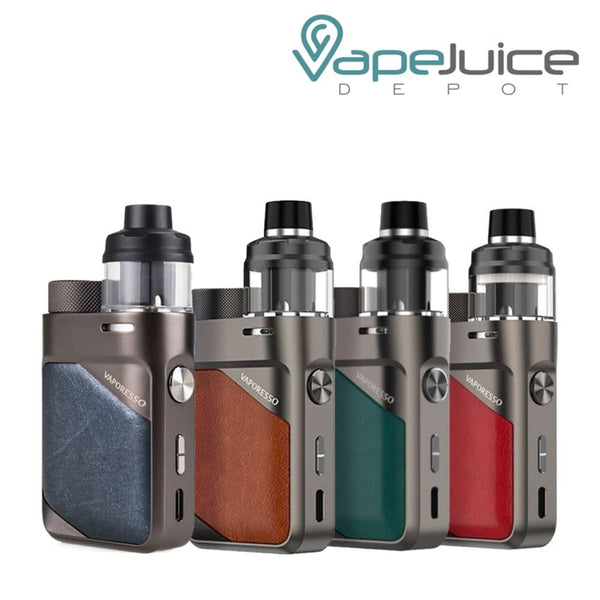 Four Vaporesso SWAG PX80 Pod Mod Kits with a tank, power button, two adjustment buttons and type C port - Vape Juice Depot