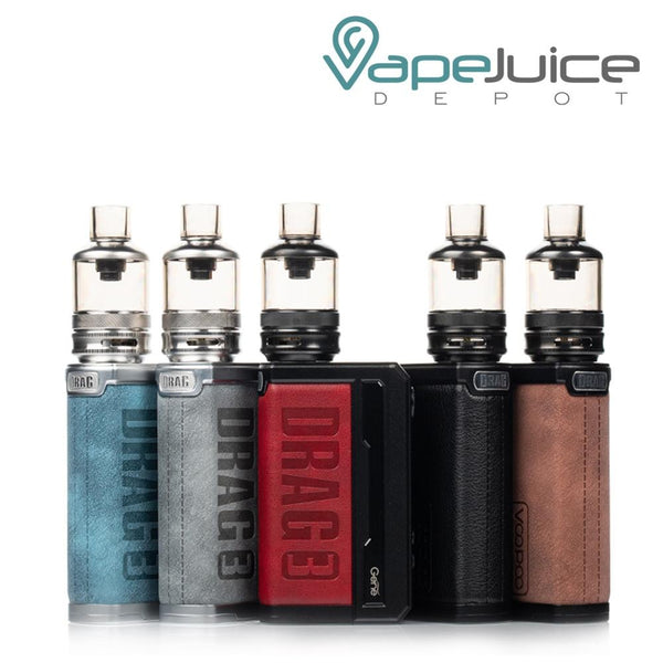 Five VooPoo DRAG 3 177W Kits with Drag 3 logo on it - Vape Juice Depot