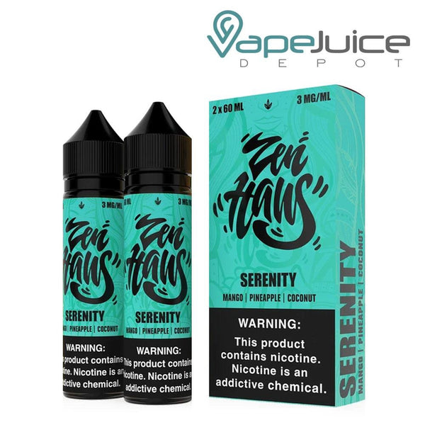 Two 60ml bottles of Verdict Vapors Zen Haus Serenity and a box next to it - Vape Juice Depot