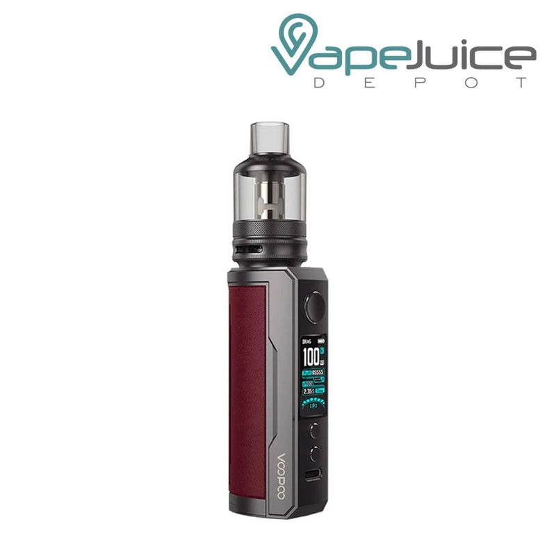 Marsala VooPoo DRAG X Plus Pod Kit with a activate button, a display, two adjustable buttons and a Type C port - Vape Juice Depot