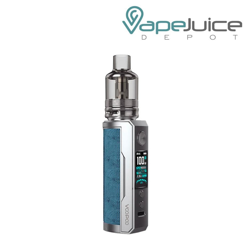 Prussian Blue VooPoo DRAG X Plus Pod Kit with a activate button, a display, two adjustable buttons and a Type C port - Vape Juice Depot