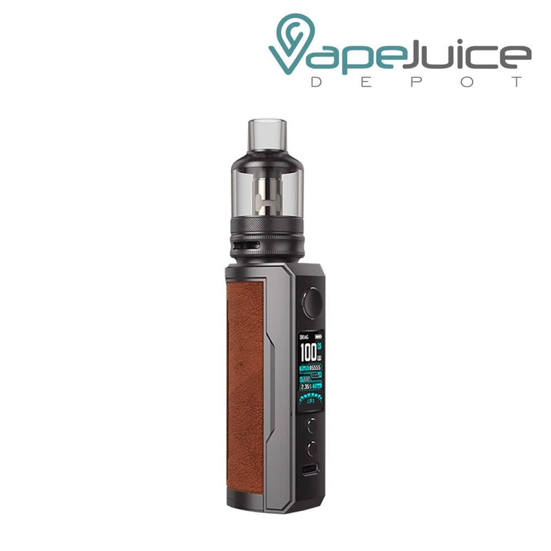 Sandy Brown VooPoo DRAG X Plus Pod Kit with a activate button, a display, two adjustable buttons and a Type C port - Vape Juice Depot