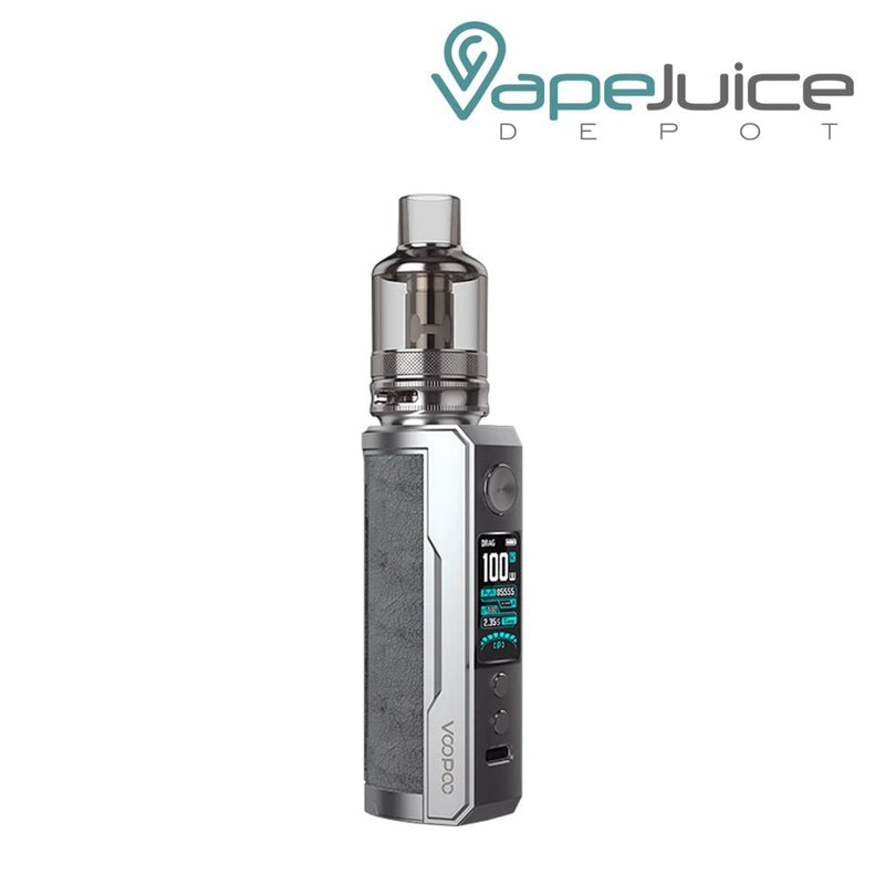 Smoky Grey VooPoo DRAG X Plus Pod Kit with a activate button, a display, two adjustable buttons and a Type C port - Vape Juice Depot