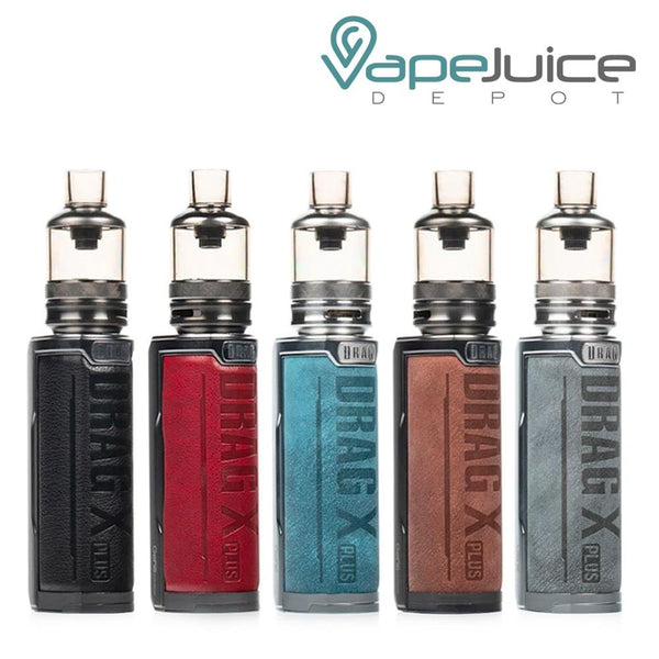 Five VooPoo DRAG X Plus Pod Kits in different colors with tanks and Drag X Plus logo on it - Vape Juice Depot