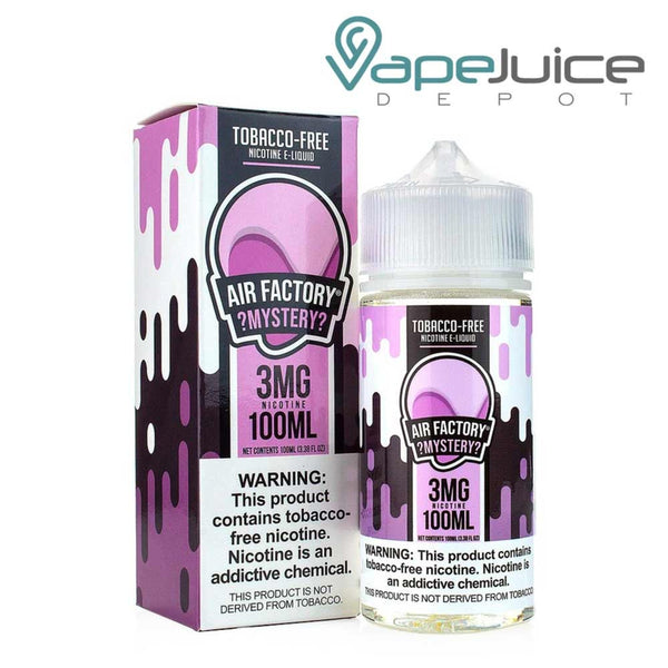 A box of Air Factory Mystery Synthetic e-Liquid and a 100ml bottle with a warning sign - Vape Juice Depot