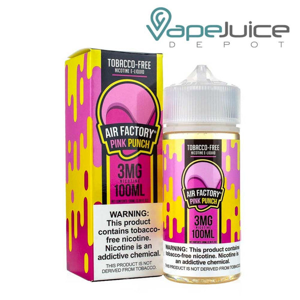 A box of Air Factory Pink Punch Synthetic eLiquid and a 100ml bottle with a warning sign - Vape Juice Depot