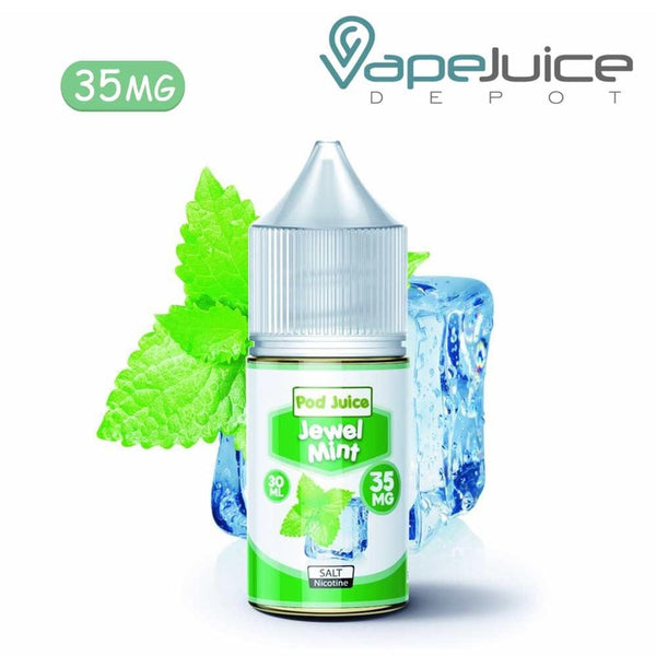 Pod Juice Jewel Mint Cool Nicotine Salt e-Liquid 35mg - Vape Juice Depot