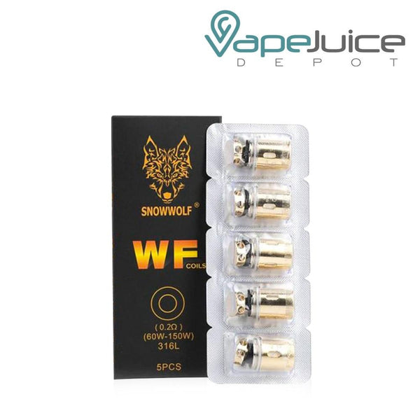 This image contains SnowWolf WF Replacement Coils in a black box with a wolf logo on it and pack of 5 coils next to it - Vape Juice Depot