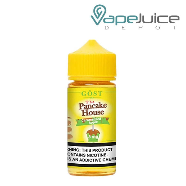 A box of The Pancake House Caramelized Apple eLiquid and a 100ml unicorn bottle with a warning sign next to it - Vape Juice Depot