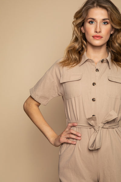 Beige Playsuit - Front
