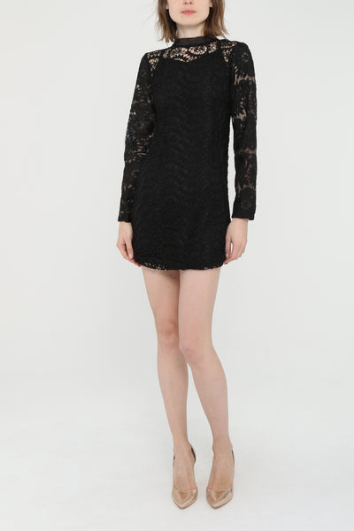 Long Sleeve Mini Lace Dress - Front