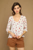Cream Floral Blouse - Front