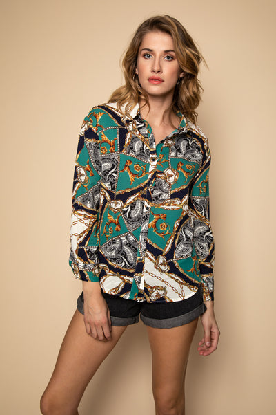 Green Collared Blouse - Front