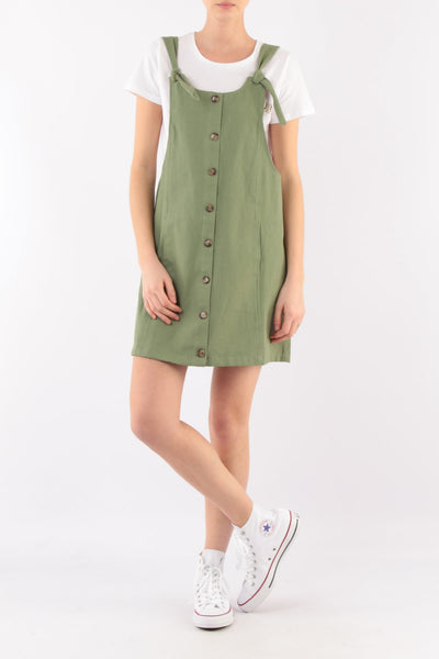 Short Cotton Summer Midi Dress - Front
