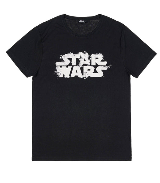 Mens Black Star Wars Logo T Shirt