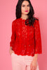 Red Long Sleeve Lace Top - Front