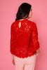 Red Long Sleeve Lace Top - Back