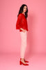 Red Long Sleeve Lace Top - Side