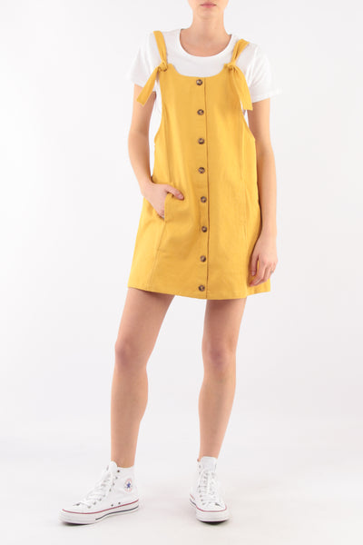 Yellow Cotton Summer Midi Dress - Front