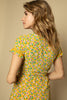 Yellow Floral Wrap Dress - Back