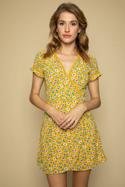 Yellow Floral Wrap Dress - Front