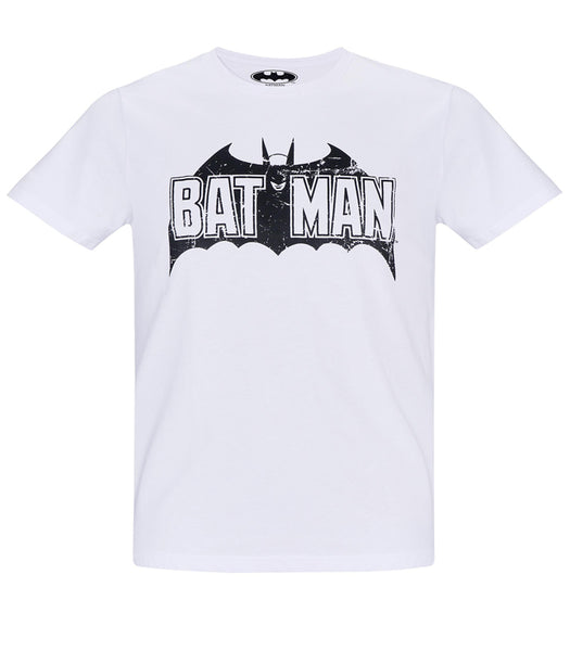 Retro Batman Logo. Mens White cotton T-Shirt.