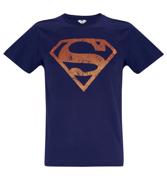 Mens Superman Distressed Logo T Shirt By Dc Comics In Blue Luc Bauer