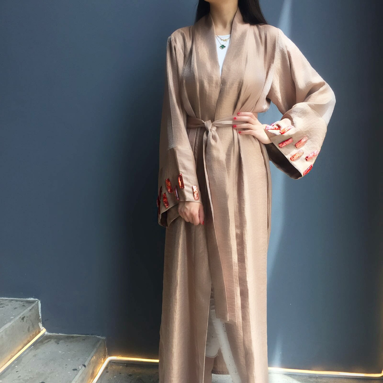 Limited edition Peach  Silk abaya with  glass embellishments