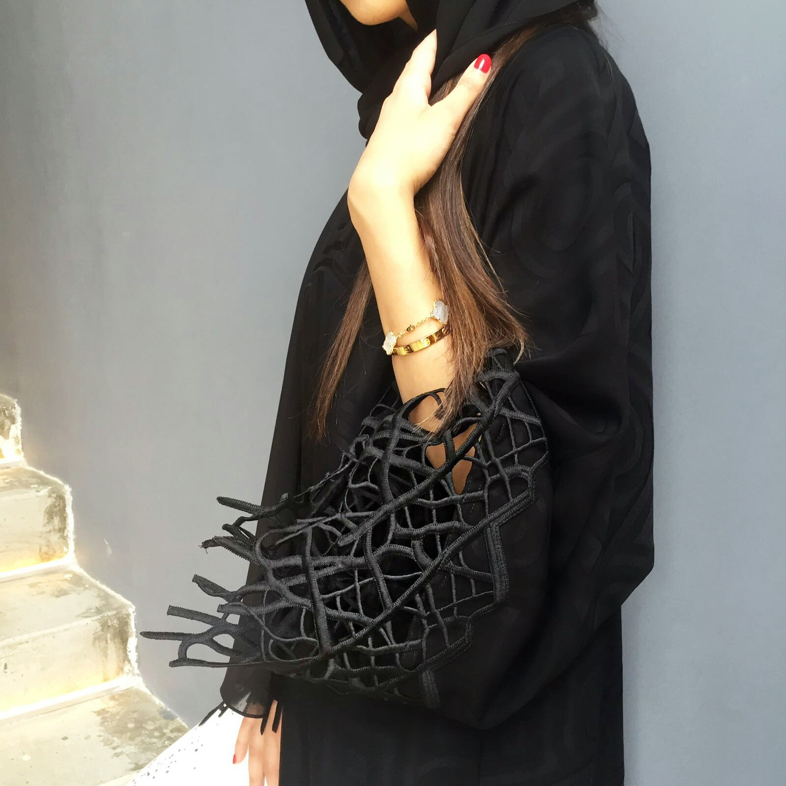 Elegant Black Abaya  in Satin Crepe With Contemporary  Lace