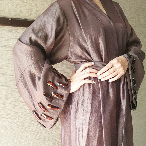 Satin Cotton Abaya in Chocolate with Glass bead Embellishments