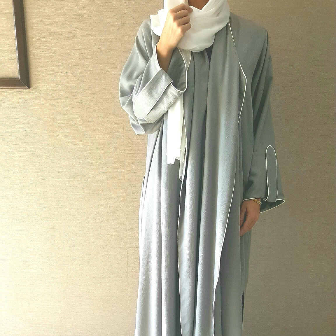 Stylish Grey Linen Abaya with White Piping