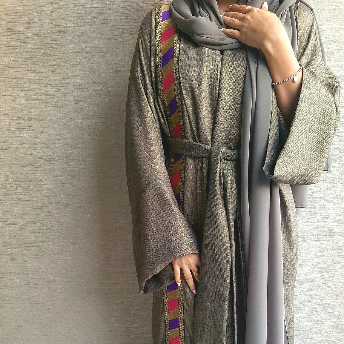 Linen Abaya in Grey Green with Elegant Detailing