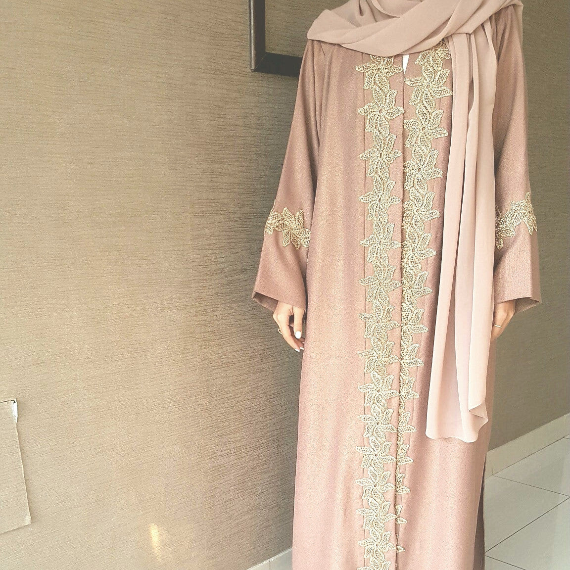 Rose Gold Fleck Linen with rose Gold Embelishment