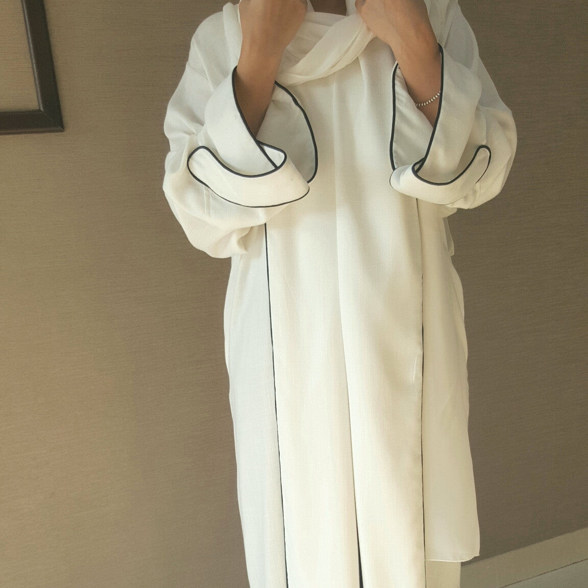 White Linen Scroll collar abaya with black Piping