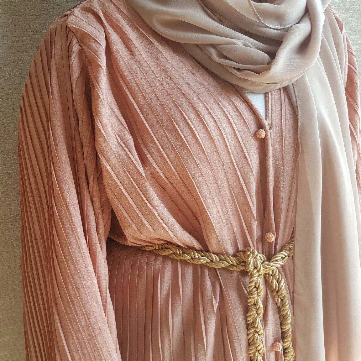Salmon Pink Pleated Abaya Robe with robe Button & Belt