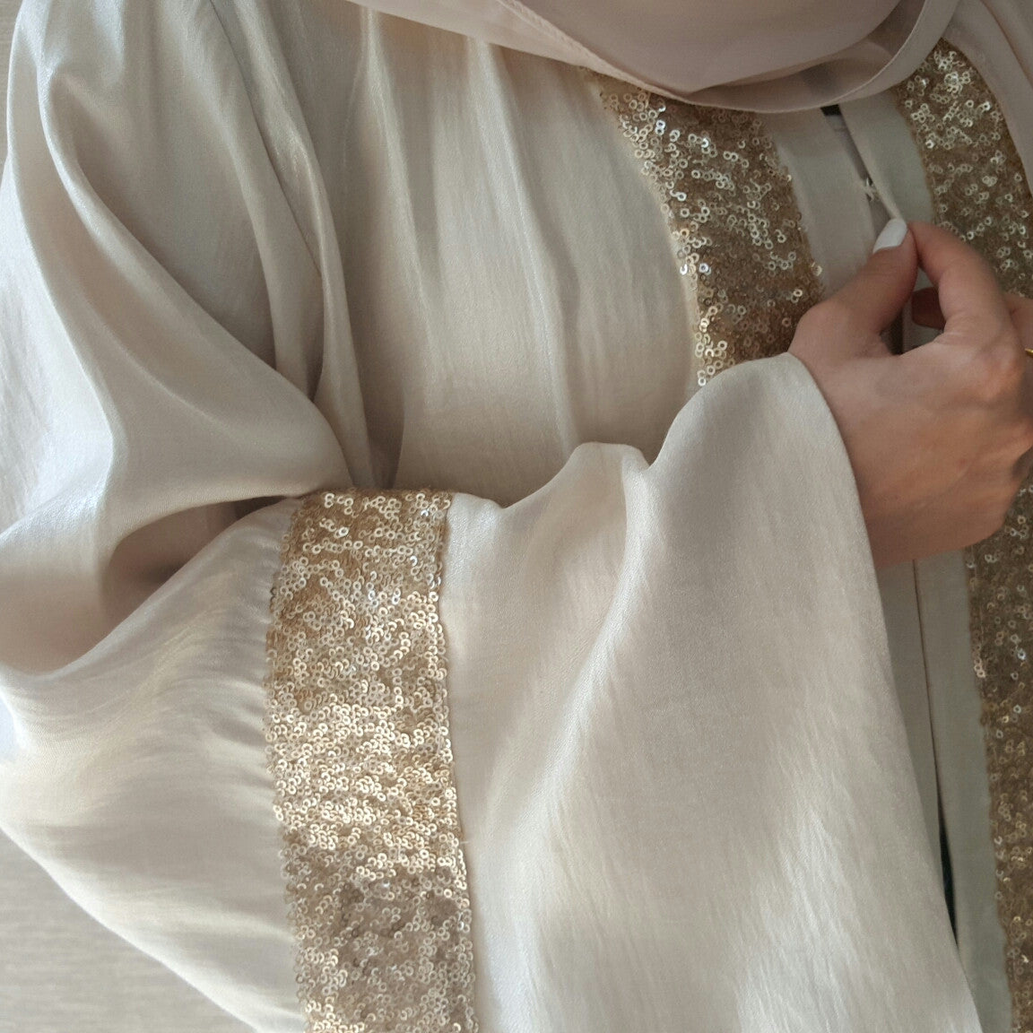 Satin Cotton Cream  Abaya with Matt Sequins