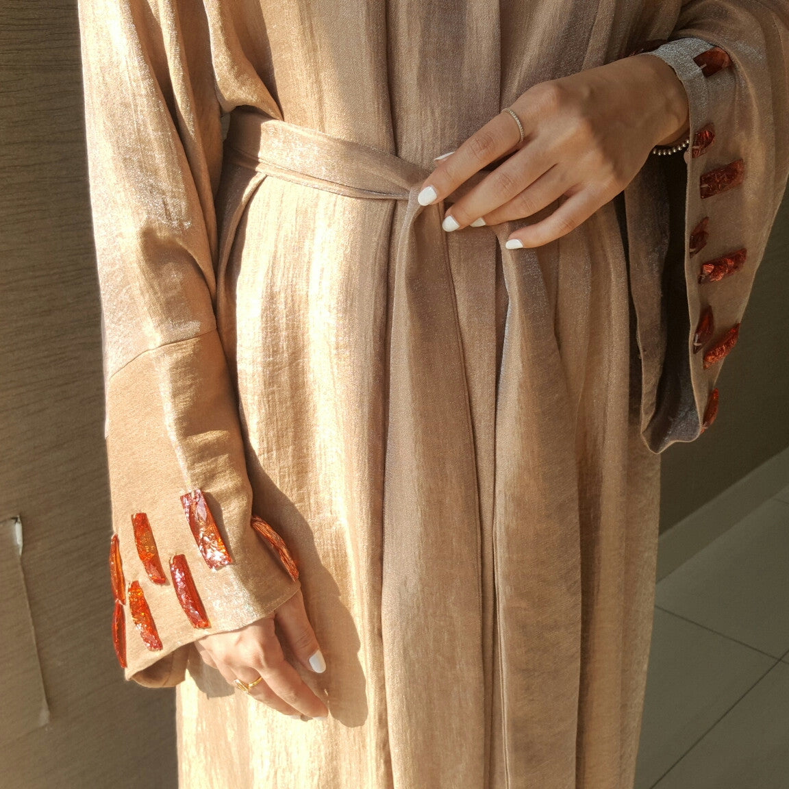 Satin cotton Classic Cut rose Gold Abaya Robe with Glass Bead Wrk