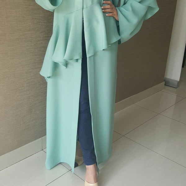 Tiffany Blue Robe Abaya in Jersey Cotton with Frill front & back With Cut Out shoulder