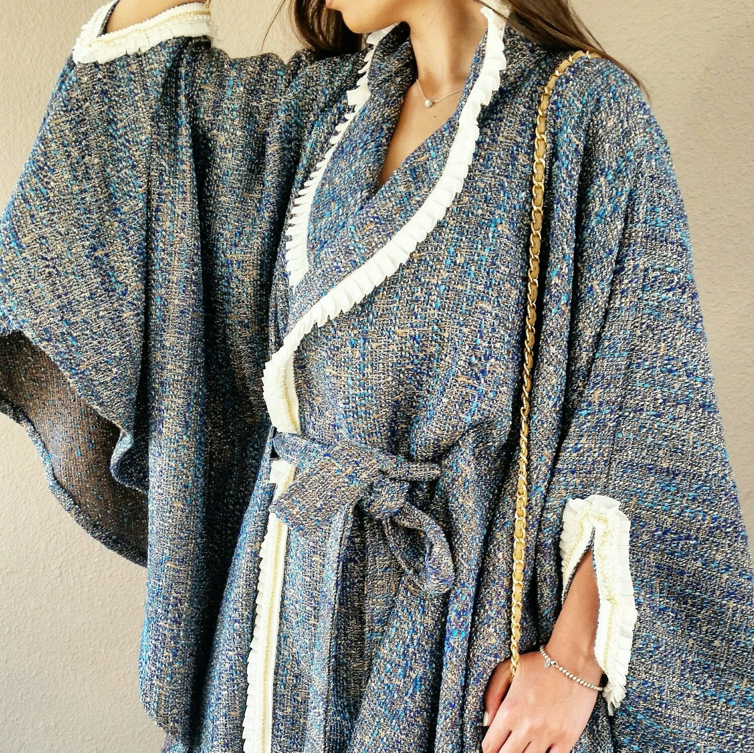 Textured Boucle Wool Cape in Shades of Blue