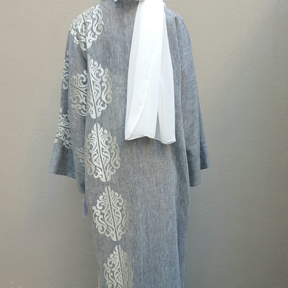 SS16 Summer Linen Bisht in Grey with Silk Embroidery